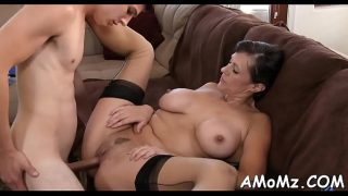 Massive cock for hungry older lady in black stockings