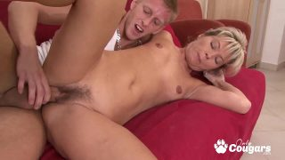 Blonde Mature Whore Fills Her Hairy Pussy With A Nice Young Cock