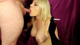 Cock sucking slut with gloves