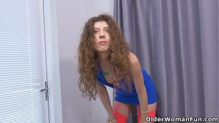 Curly canadian milf Janice needs getting off