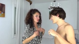 Horny Spanish MILF Zazel eats up completely a big dicked young stud