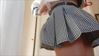 I show you everything by lifting my mini skirt