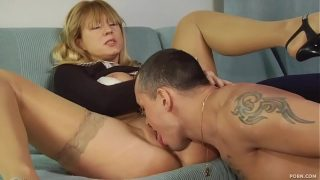 Mature Ann rides on her young lovers hard cock