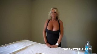 Big boobs Blonde Wifey Sucks Cock and Swallows Cum Using Milking Table