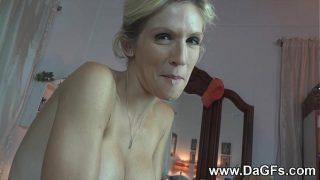 Busty Blonde Wife Jolene Devil swallows after BJ
