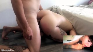Tattooed girl is stuck under a bed and was fucked by lucky dude