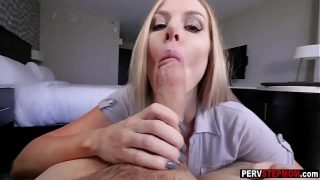 Horny Blonde MILF swallowed a stepsons huge fat dick